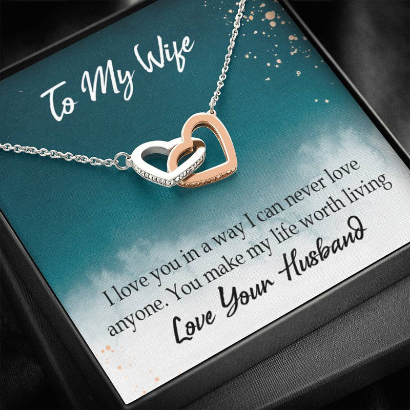 You Make My Life Worth Living, Gift to Wife, Inseparable Necklace Pendant, 18k Rose Gold 16""