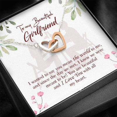 Girlfriend Necklace Gift Card To my Beautiful Girlfriend Inseparable Love Pendant Surgical Steel Girlfriend Birthday Card Romantic