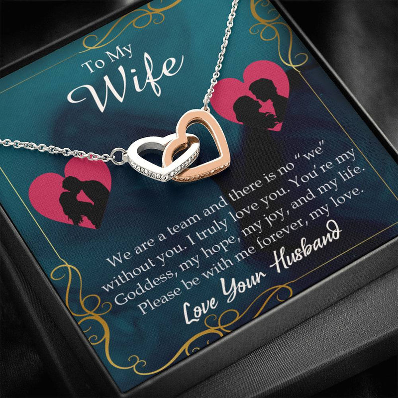 We Are a Team, Gift to Wife, Inseparable Necklace Pendant, 18k Rose Gold 16""