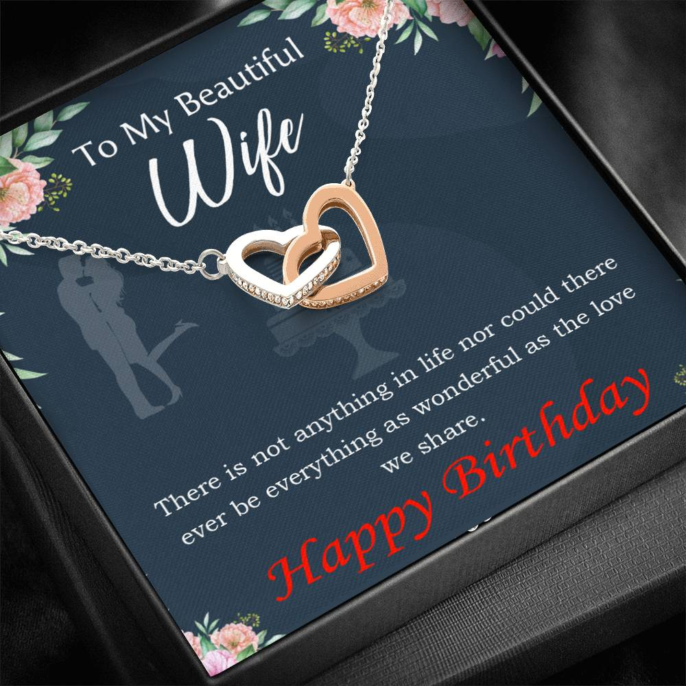 Wife Love Card, Everything is Wonderful, Wife Gift, Inseparable Love Pendant 18k Rose Gold, Romantic Birthday Card