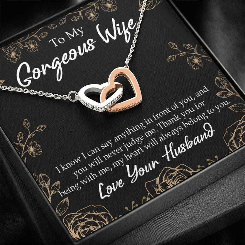 Gift to Wife, Thank You For Being With Me, Inseparable Necklace Pendant, 18k Rose Gold 16""