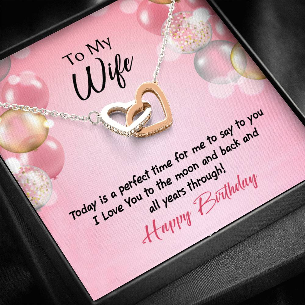 Wife Love Card, Perfect Time Birthday, Wife Gift, Inseparable Love Pendant 18k Rose Gold, Romantic Birthday Card
