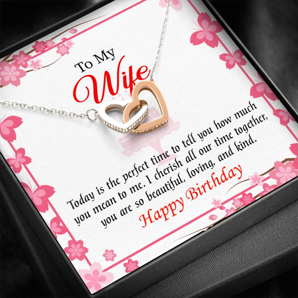 Wife Love Card, Perfect Time, Wife Gift, Inseparable Love Pendant 18k Rose Gold, Romantic Birthday Card