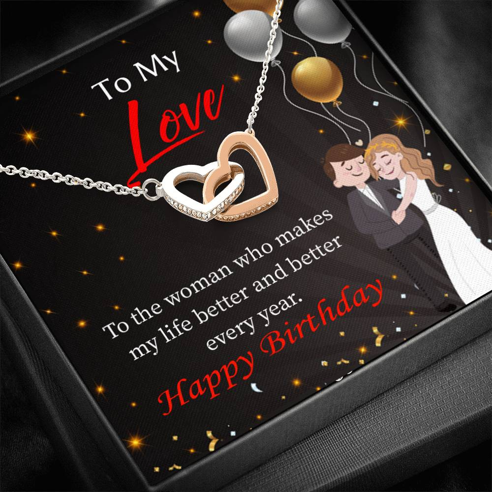 Wife Love Card, You make me Better, Wife Gift, Inseparable Love Pendant 18k Rose Gold, Romantic Birthday Card