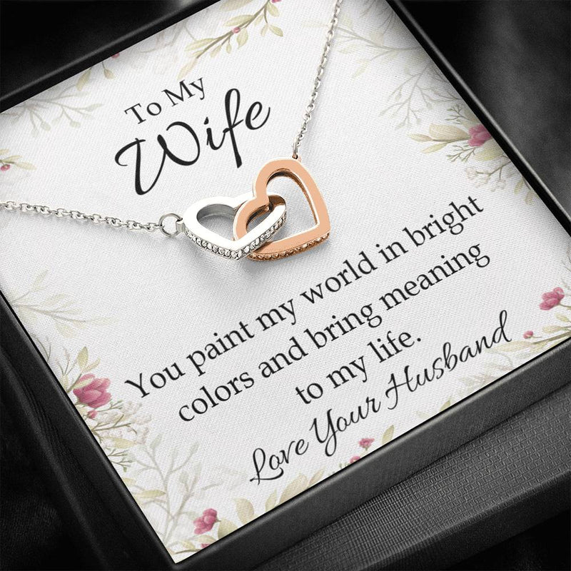 Gift to Wife, You Paint My World, Inseparable Necklace Pendant, 18k Rose Gold 16""