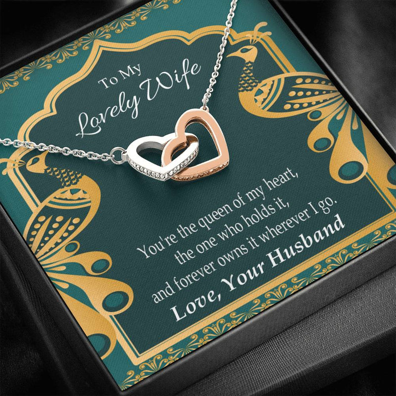 To My Lovely Wife, Gift to Wife, Inseparable Necklace Pendant, 18k Rose Gold 16""