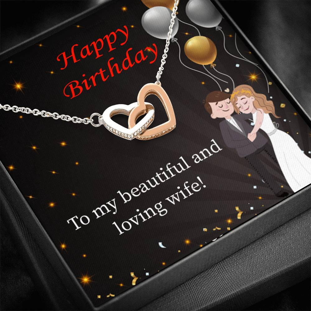 Wife Love Card, Beautiful and Loving Wife, Wife Gift, Inseparable Love Pendant 18k Rose Gold, Romantic Birthday Card