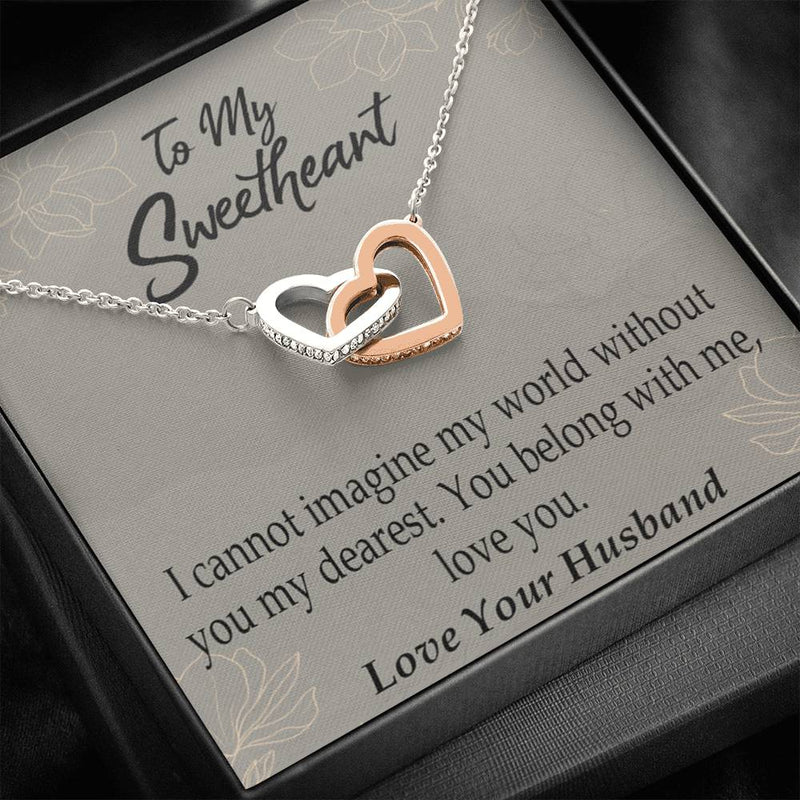You Belong With Me, Gift to Wife, Inseparable Necklace Pendant, 18k Rose Gold 16""