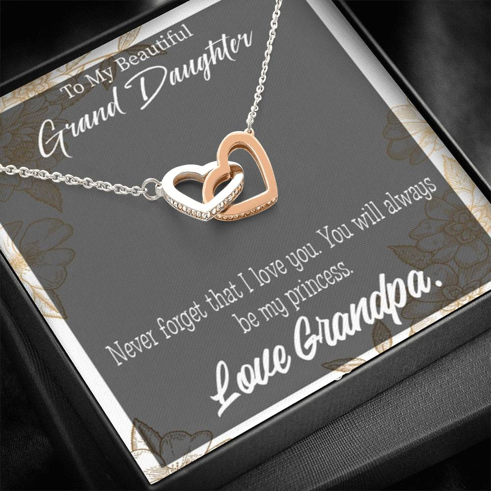 "To My Granddaughter, Grandpa's Princess Inseparable Necklace Pendant, 18k Rose Gold 16"", Gift for Granddaughter"