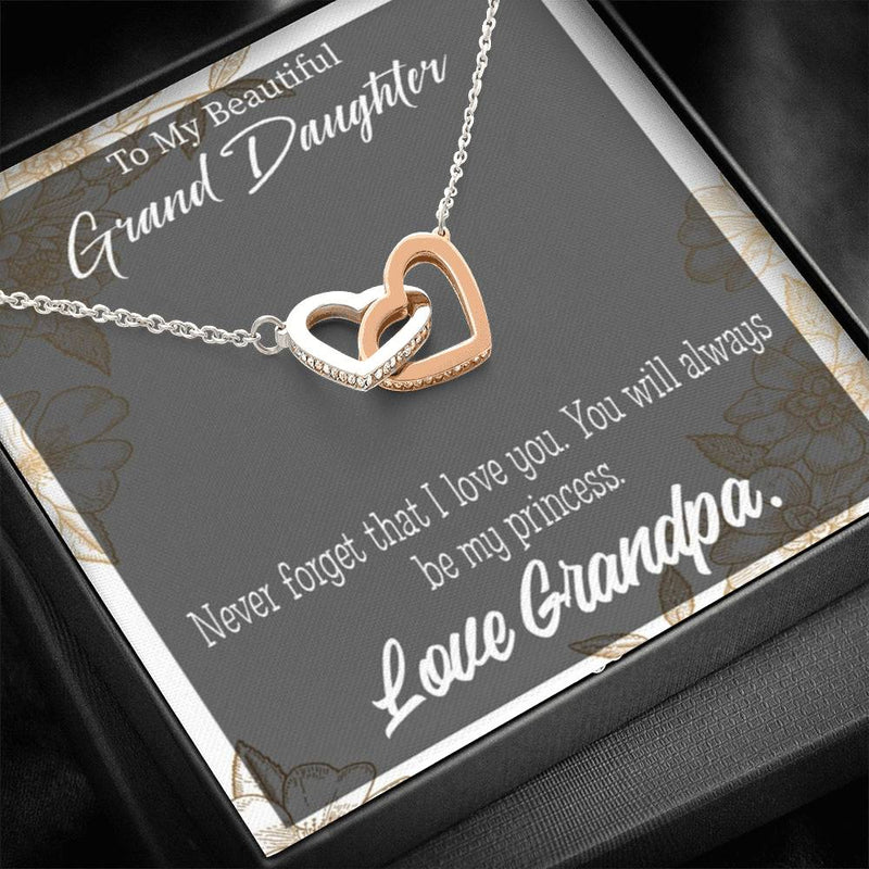 "To My Granddaughter Grandpa's Princess Inseparable Necklace Pendant 18k Rose Gold 16"" Gift for Granddaughter"