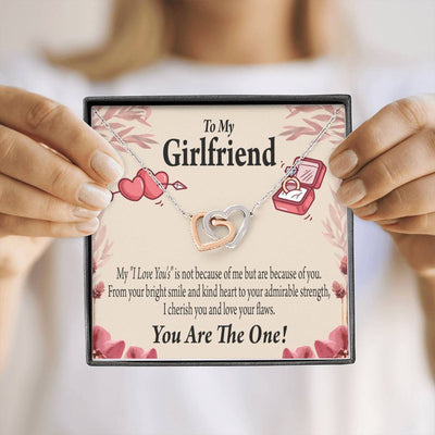 To My Girlfriend Love You Inseparable Necklace Pendant 18k Rose Gold Finish 16""