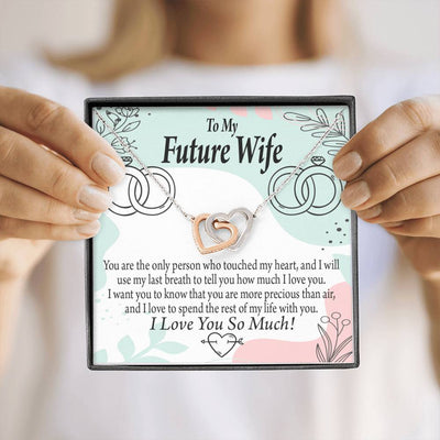 Future Wife Rest of My Life Inseparable Necklace Pendant 18k Rose Gold Finish 16""