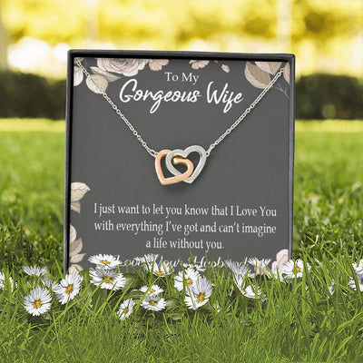 Can't Imagine a Life Without You Gift to Wife Inseparable Necklace Pendant 18k Rose Gold 16""