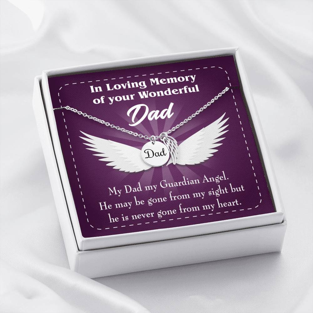 My Dad My Guardian Loss of a Dad Sympathy Gifts Loss of a Parent Remembrance Necklace Memorial Necklace - Express Your Love Gifts