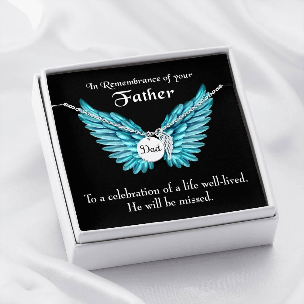He Will be Missed Loss of a Dad, Sympathy Jewelry Gifts, Loss of a Parent, Remembrance Necklace, Memorial Necklace