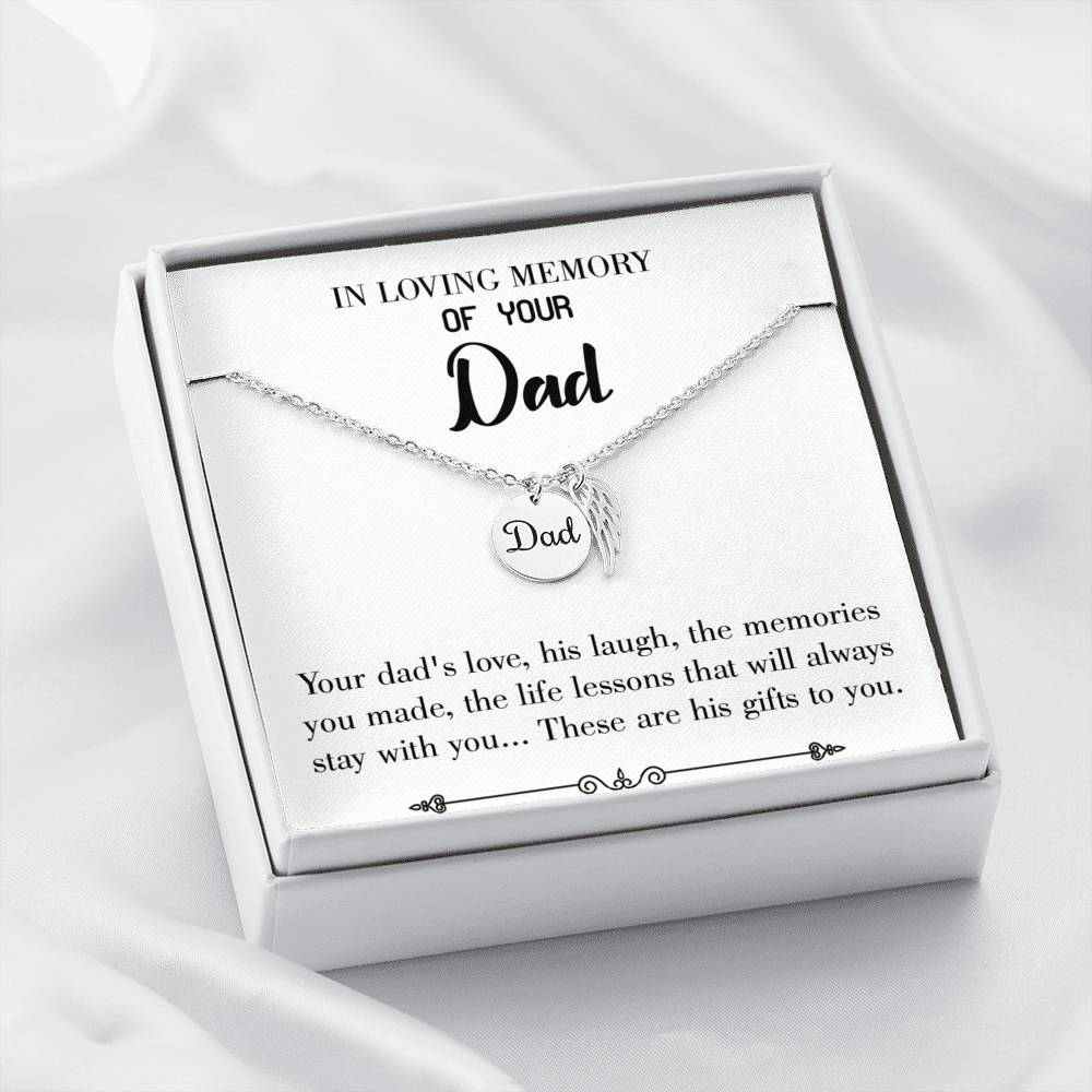 Life's Lesson Loss of a Dad Sympathy Gifts Loss of a Parent Remembrance Necklace Memorial Necklace - Express Your Love Gifts