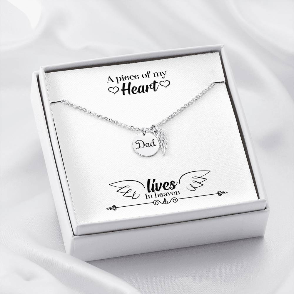 Dad Memorial Necklace Piece of my Heart Loss of a Dad Stainless Steel Remembrance Necklace - Express Your Love Gifts
