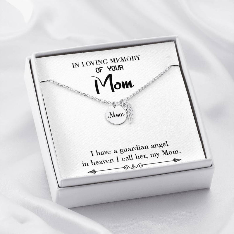 Mom Remembrance Necklace Guardian Angel Mom White Mother Memorial Necklace - Express Your Love Gifts