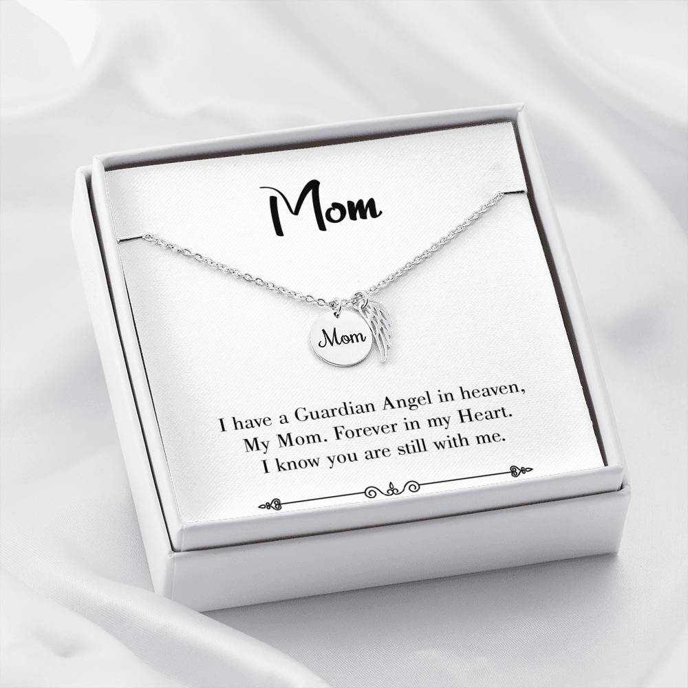 Mom Remembrance Necklace, Forever in my Heart White, Mother Memorial Necklace