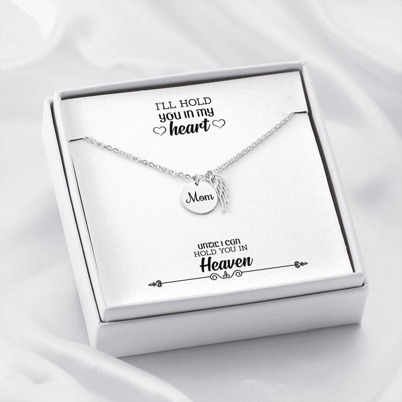 Mom Remembrance Necklace, Hold You in my Heart, Mother Memorial Necklace