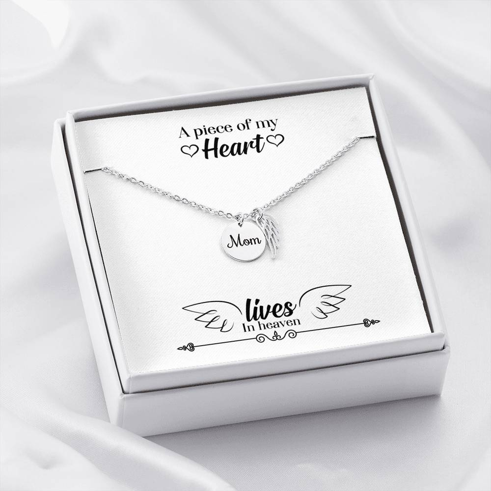 Mom Remembrance Necklace, A Piece of my Heart Lives in Heaven, Mother Memorial Necklace