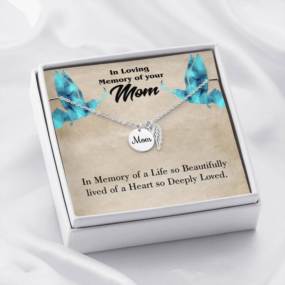 Mom Remembrance Necklace, Life's Beautifully Lived, Mother Memorial Necklace