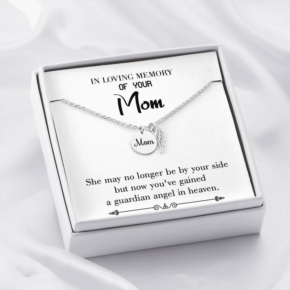 Mom Remembrance Necklace, Guardian Angel in Heaven White, Mother Memorial Necklace