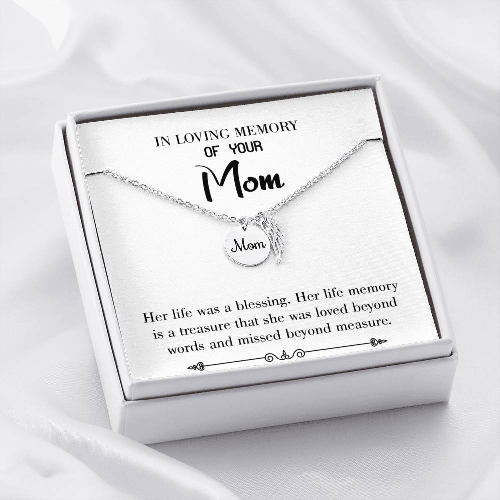 Mom Remembrance Necklace, Life Was a Blessing White , Mother Memorial Necklace