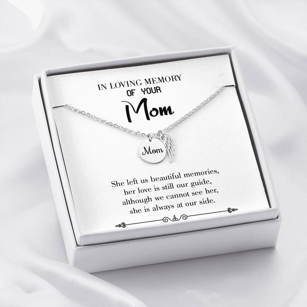 Mom Remembrance Necklace, Love is our Guide White, Mother Memorial Necklace