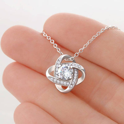 Future Wife Touch My Heart Love Knot Necklace Stainless Steel w Cubic Zirconia stone
