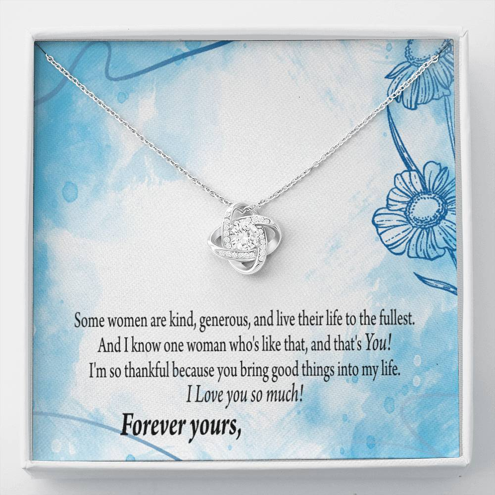 Wife Girfriend Personalized Card Good Times Love Knot Necklace Stainless Steel w Cubic Zirconia Stone