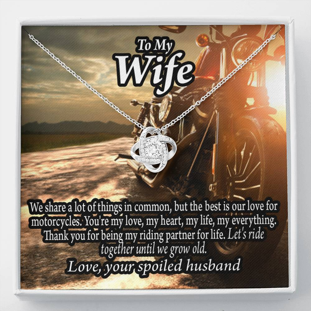 To My Wife Live To Ride, Love To Experience Love Knot Necklace Message Greeting Card - Express Your Love Gifts