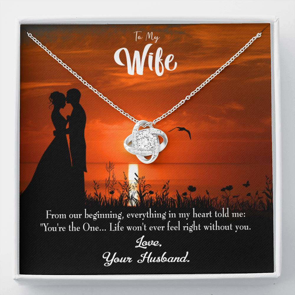 To My Wife You're the One! Wife Infinity Knot Necklace Keepsake Message Card Stainless Steel CZ Pendant