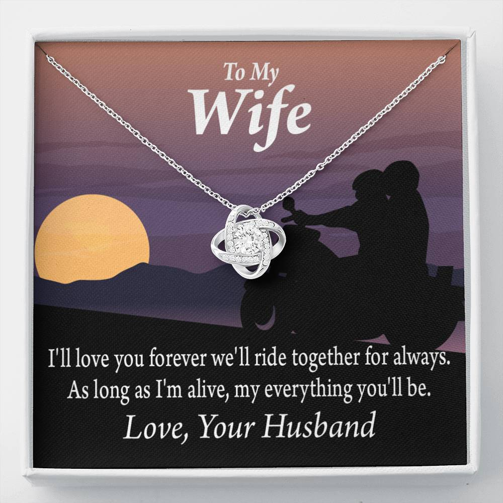To My Wife Ride Together For Always Love Knot Necklace Message Greeting Card - Express Your Love Gifts