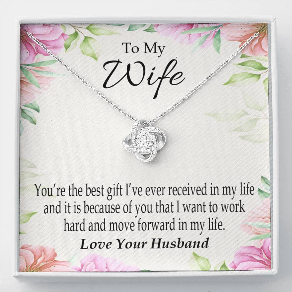 To My Wife You're The Best Gift Wife Infinity Knot Necklace Keepsake Message Card Stainless Steel CZ Pendant