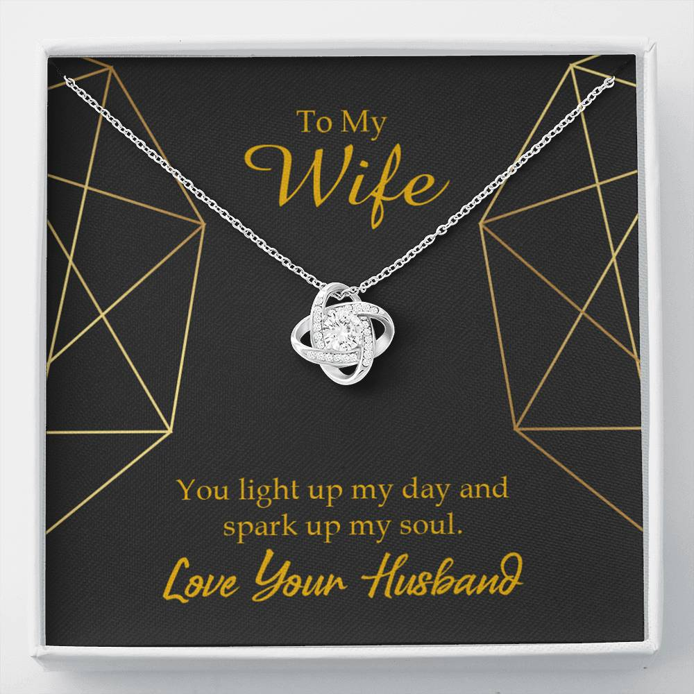 To My Wife You_Light_Up_My_Day_artwork Wife Infinity Knot Necklace Keepsake Message Card Stainless Steel CZ Pendant