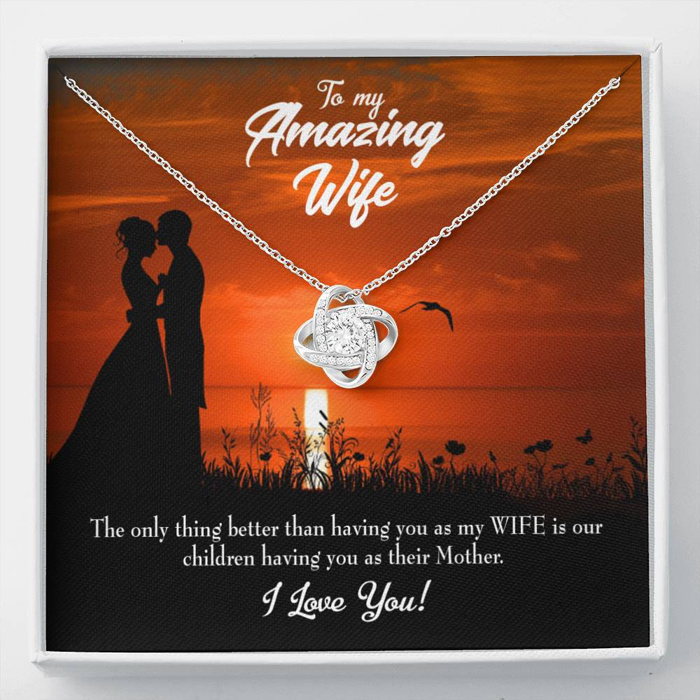 To My Wife Wife and Mother Wife Infinity Knot Necklace Keepsake Message Card Stainless Steel CZ Pendant