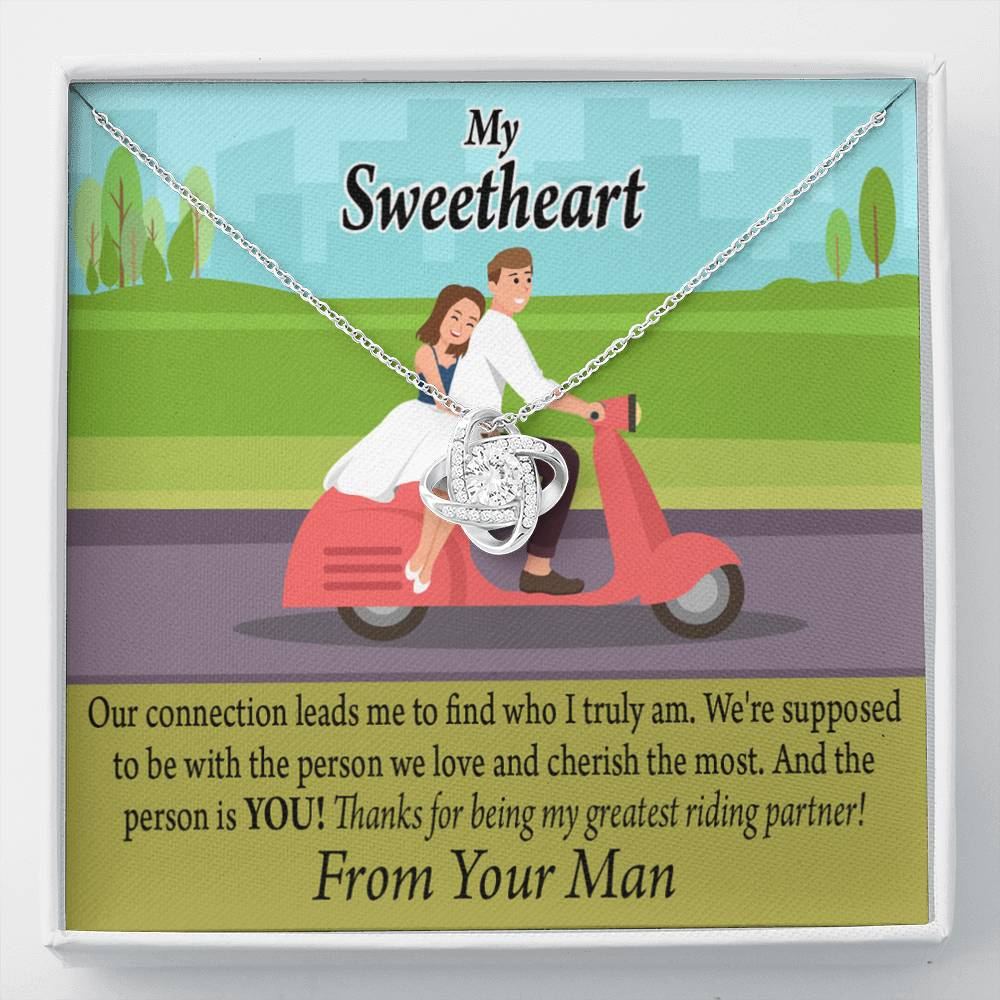 To My Wife My Greatest Riding Partner Thank You Love Knot Necklace Message Greeting Card - Express Your Love Gifts