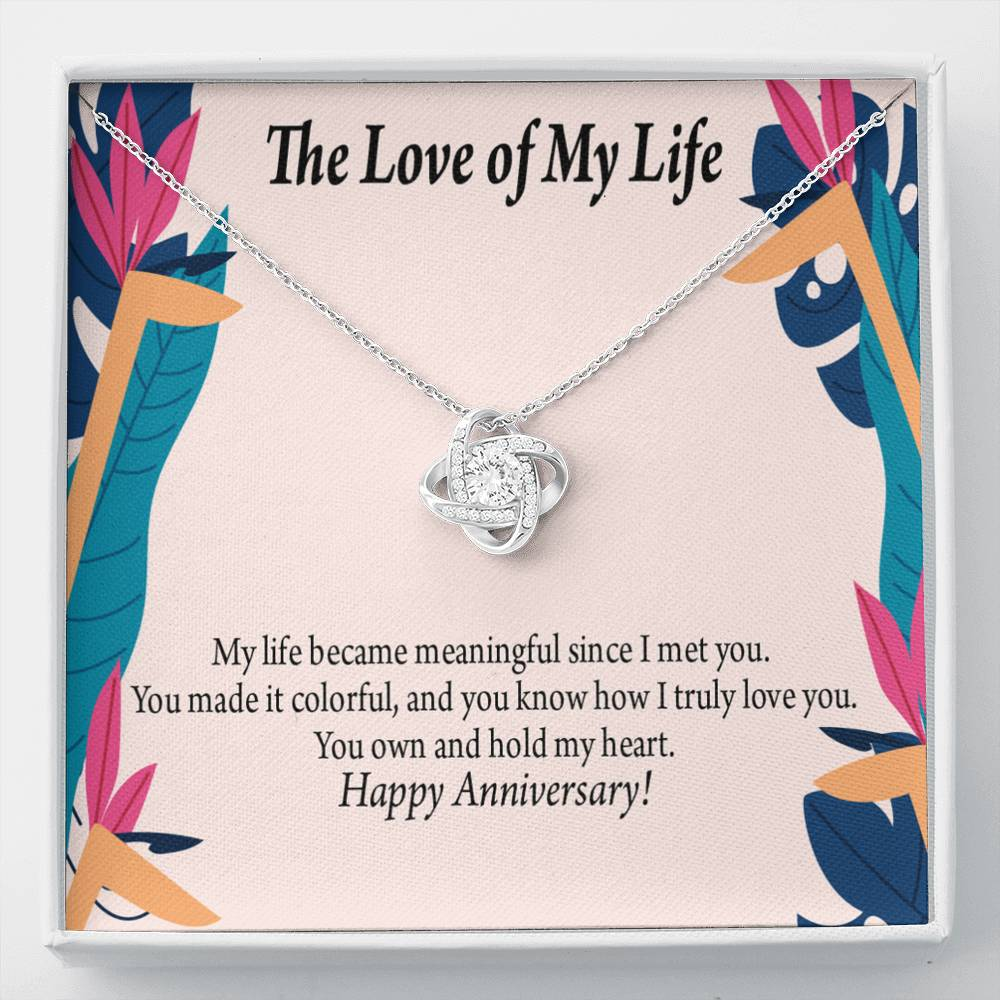 To My Wife Love of My life Personalized Anniversary Card Love Knot Necklace Stainless Steel w Cubic Zirconia Stone