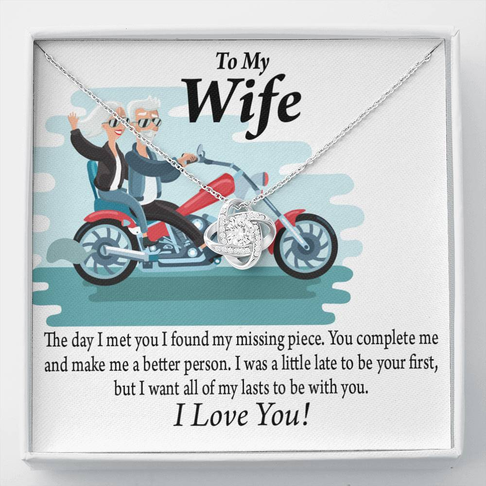 To My Wife All My Lasts To Be With You Love Knot Necklace Message Greeting Card - Express Your Love Gifts