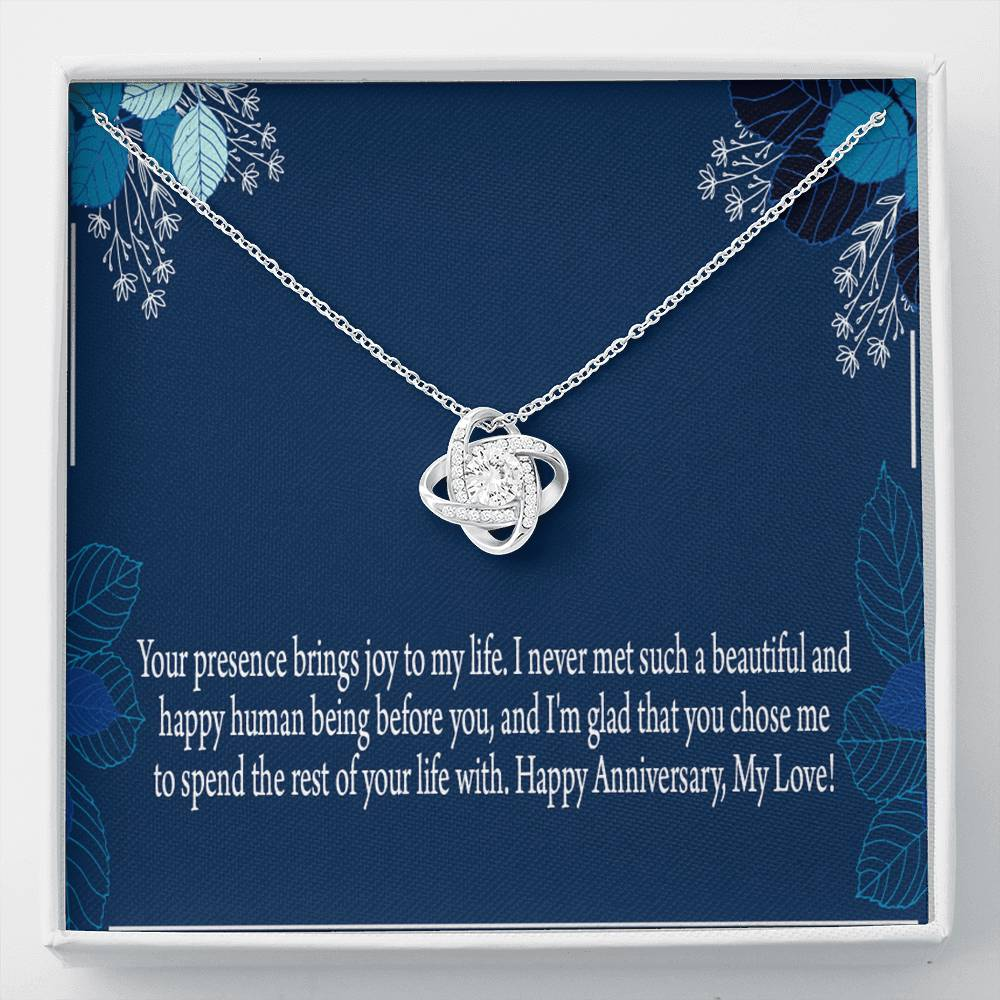 To Wife or Girlfriend Joy to Me Personalized Anniversary Necklace Stainless Steel w Cubic Zirconia Stone