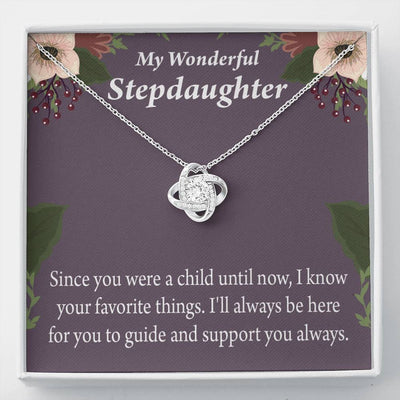 Wonderful Stepdaughter HeartKeeper Message Card Necklace Love Knot Stainless Steel w CZ stone