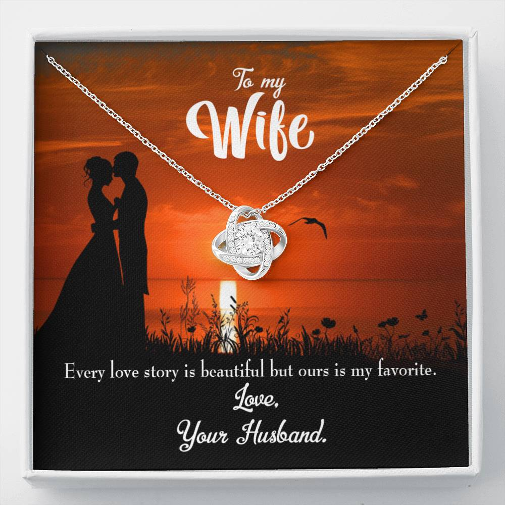To My Wife Wife Love Story Wife Infinity Knot Necklace Keepsake Message Card Stainless Steel CZ Pendant