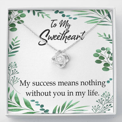 To My Wife My Success Means Nothing Without You Wife Infinity Knot Necklace Keepsake Message Card Stainless Steel CZ Pendant