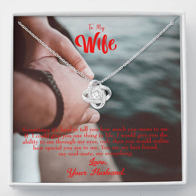 To My Wife Sometimes It's Hard Wife Infinity Knot Necklace Keepsake Message Card Stainless Steel CZ Pendant