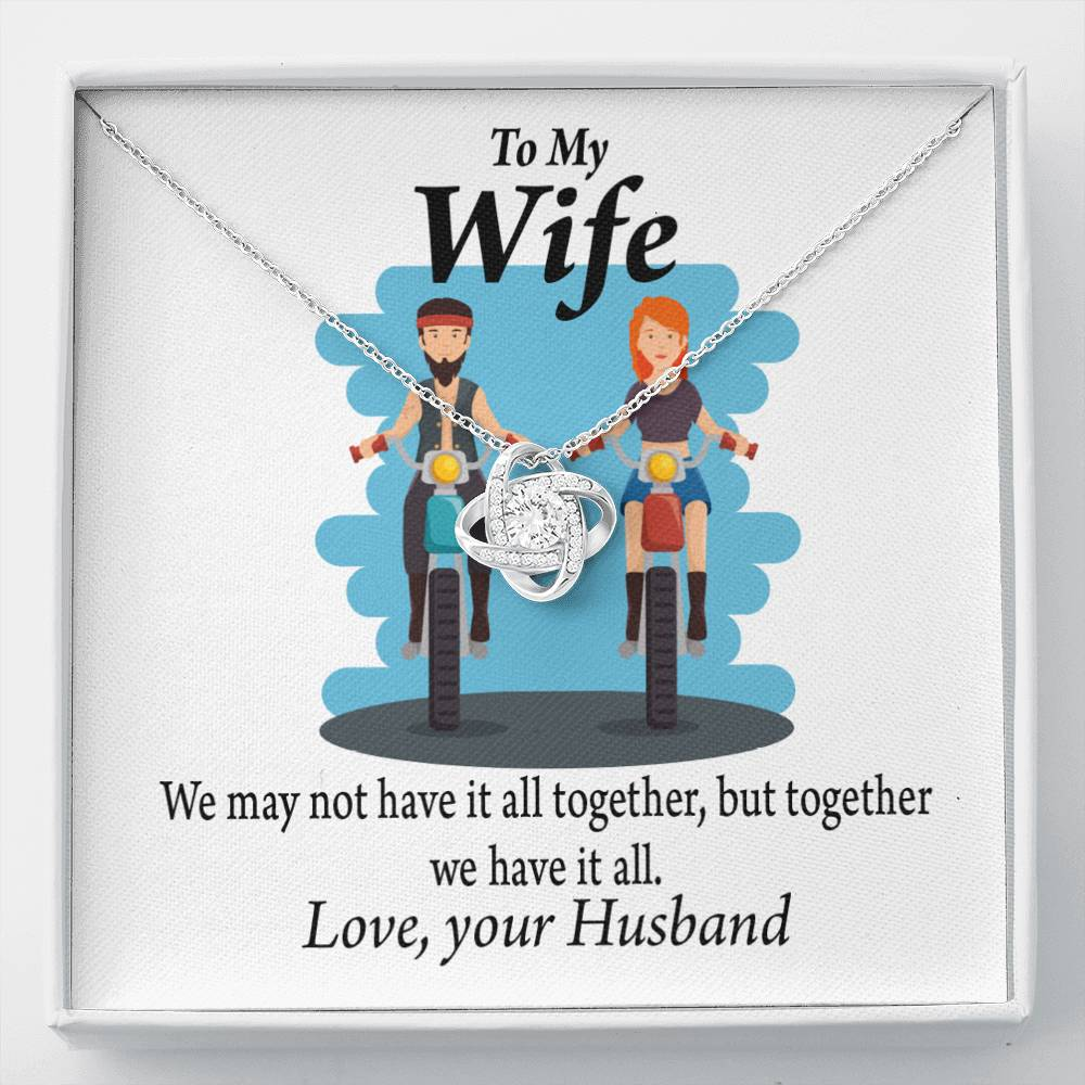 To My Wife Riding Together We Have It All Love Knot Necklace Message Greeting Card - Express Your Love Gifts