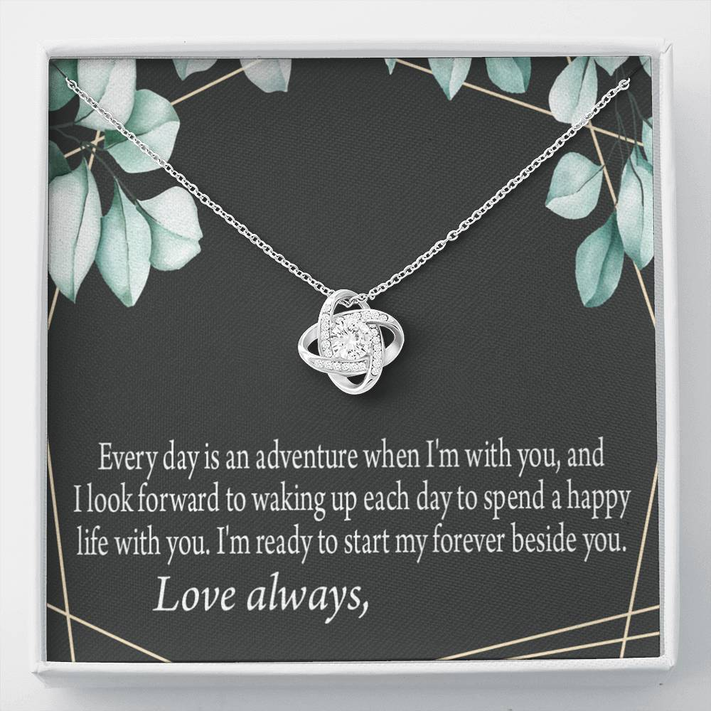 To My Future Wife Start My Forever Personalized Keepsake Card Love Knot Necklace Stainless Steel w Cubic Zirconia Stone