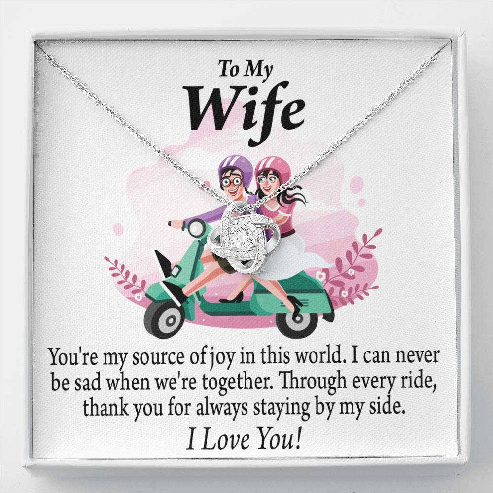 To My Wife Source of Joy Love Knot Necklace Message Greeting Card - Express Your Love Gifts