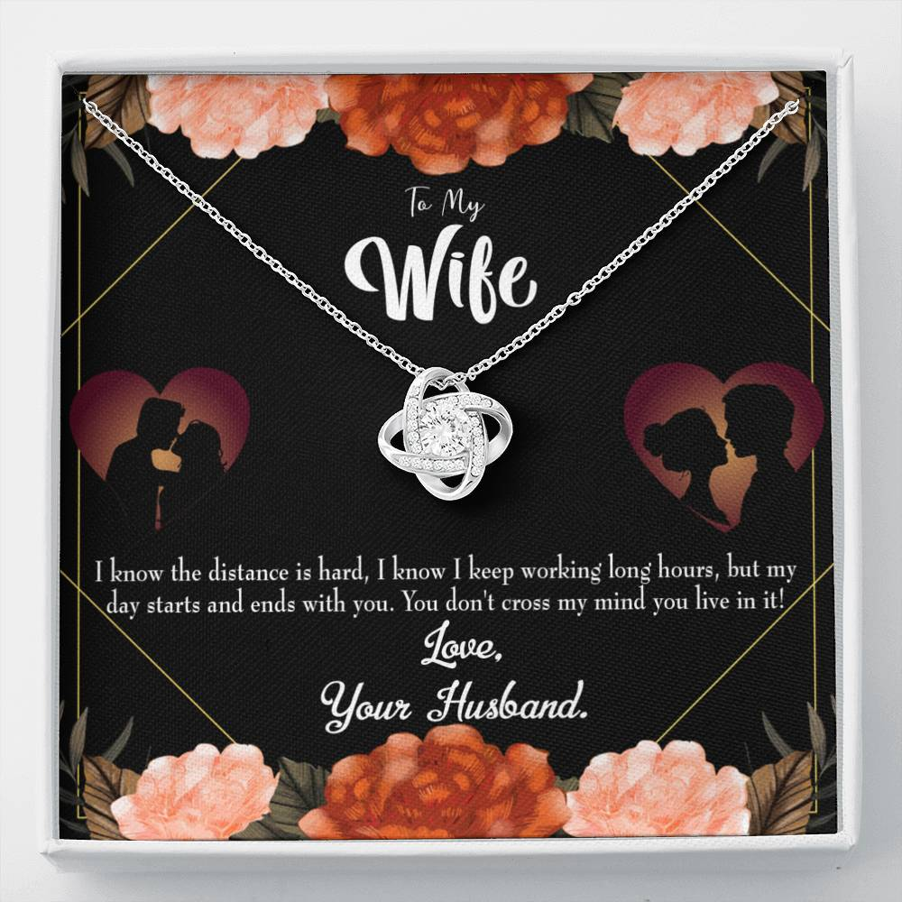 To My Wife To Wife Always on my Mind Wife Infinity Knot Necklace Keepsake Message Card Stainless Steel CZ Pendant