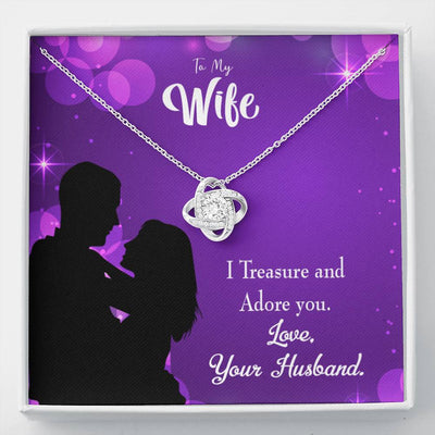 To My Wife I Treasure and Adore You Wife Infinity Knot Necklace Keepsake Message Card Stainless Steel CZ Pendant